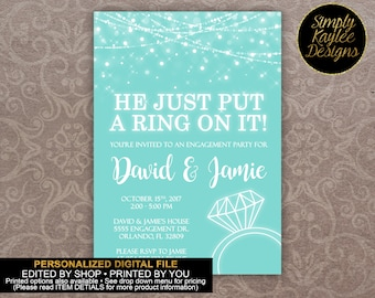 He Just Put A Ring On It Engagement Party Invitation