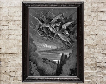 Paradise Lost, Gustave Dore, fallen angels, hell, inferno, engraving, occult, gothic, art print, black and white, demonic, satanic, art, 199