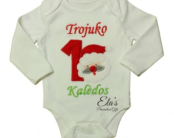 1st Christmas embroidered bodysuit with Santa Claus applique design short or long sleeve made to order