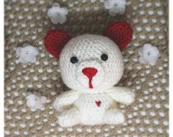 Crochet Cuddly Love Bear with sewed on heart