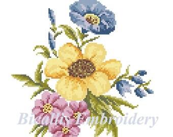 Flower Bouquet, Cross stitch Bouquet, Embroidery Flower