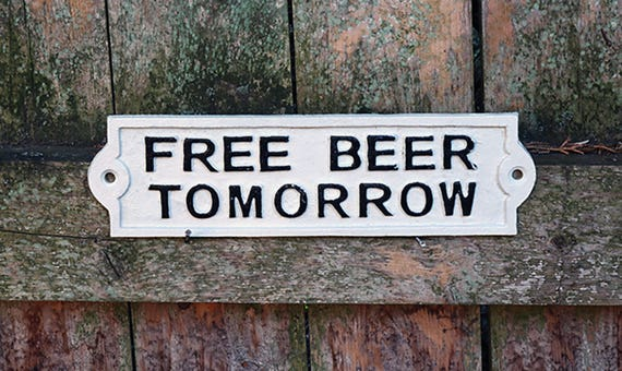 Cast Iron Free Beer Tomorrow Sign-Beer Sign-Funny Sign-Collectible Sign-Keg Party Sign-Outdoor Beer Sign-Free Beer Plaque-Primitive Sign