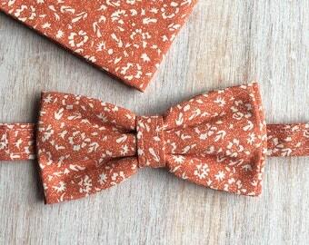 Bow tie + floral pouch - orange