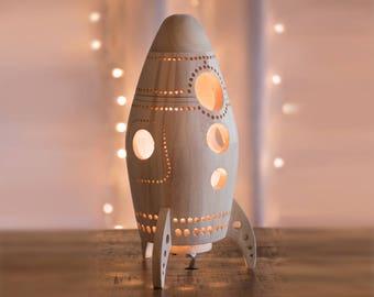 Wooden Rocket Ship Night Light - Wood Nursery / Baby / Kid Lamp - Spaceship Nightlight Lantern for Outer Space Theme