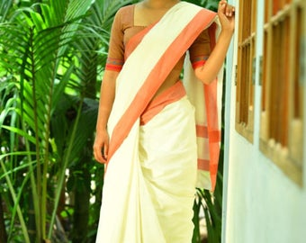 Kerala Settu Saree ~ Burnt Orange