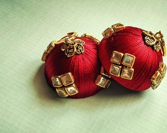 Beautiful Silk Thread Earring in Dark Red Color