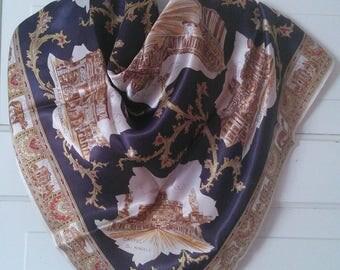 "Vintage Rome Souvenir scarf, 1950's 1960's// vintage ""Roma"" souvenir scarf, glossy acetate"