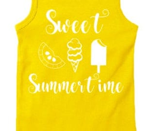 Sweet summertime yellow girls tank