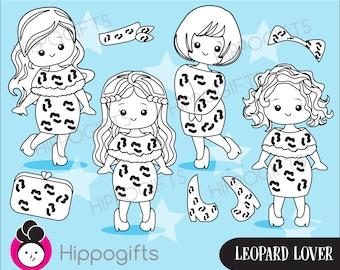 Leopard print lover digital stamp  instant download,digital stamp commercial use, leopard stamp,girl stamp,PNG file A016