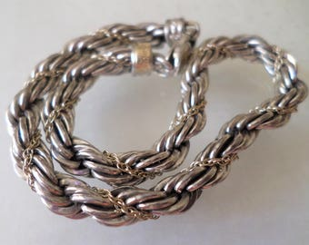 14K and Sterling 925 Stamped, Precious Precious Signed, Different Links, Rope Chain Bracelet.