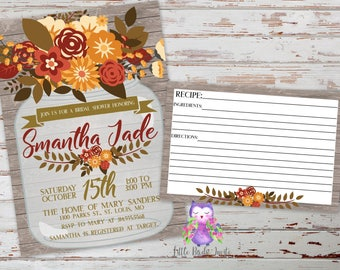 Rustic Fall Bridal Shower Invitation | Fall Floral Bridal Shower Invitation | Autumn Bridal Shower Invitation | Mason Jar Invitation