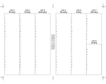 June Dated Hourly WO2P, B6 TN, Printable Inserts