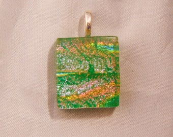 Dichroic Fused Glass Pendant/Necklace Green, Orange, Pink, on Teal