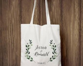 Tote cotton Bag - Personalized wedding - (min 35 PCs) - laurels