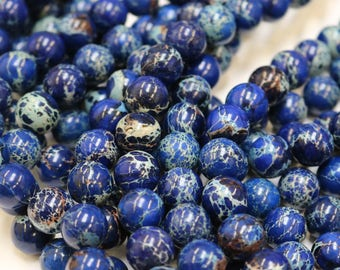impression jasper, 4mm beads, sea blue beads, dark blue beads, round beads, small beads, tiny beads, full strand, gemstone beads,