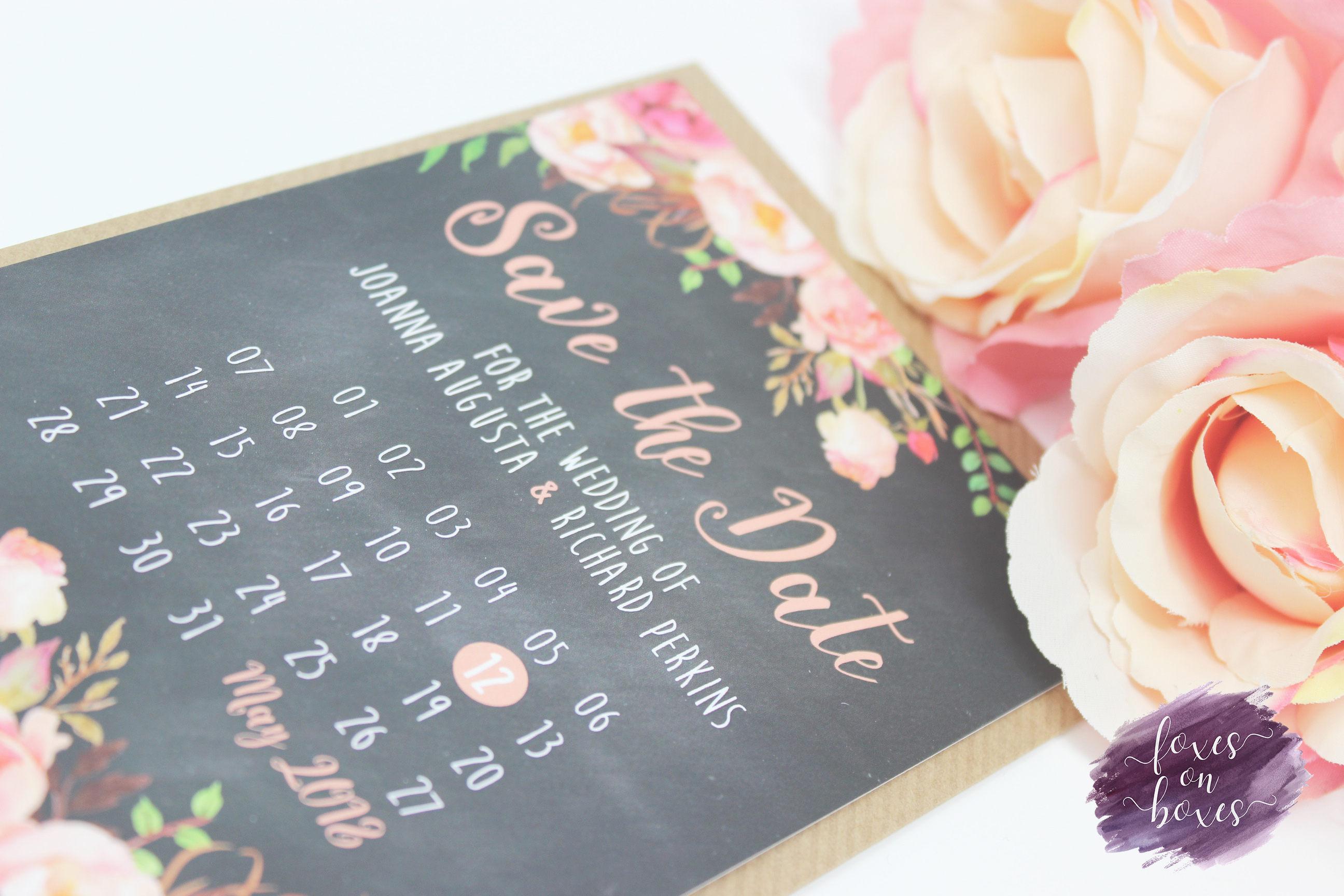 Chalkboard u0026 Pink Florals Save the Date