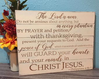 Philippians Scripture Sign • Religious home decor • Custom Bible Verse • Shabby Chic • Rustic Wood Sign • Christian Wall Art • Shabby Chic