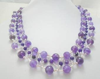Amethyst Necklace, Beaded Amethyst Necklace, Seed Bead Gemstone Necklace, Beadweave Amethyst Necklace, Amethyst Jewelry, Beadwork Necklace
