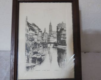 """Engraved by the ROBIN, black and white postcard model Strasbourg """"La petite France"""", has suspend or ask, vintage deco."""