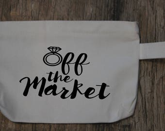 Off the market glitter vinyl makeup bag/ Personalization available