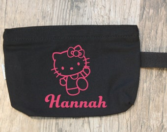 Makeup zipper pouch with glitter Hello Kitty decal