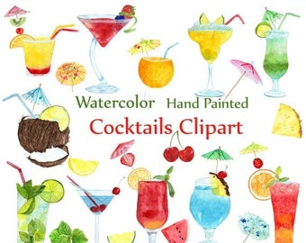 """ON SALE 30% Watercolor Cocktails clipart: """"SUMMER Clipart"""" Drinks Clipart Summer fruits Cocktail Clip Art Drinks Clipart Juicy Fruit Clipart"""