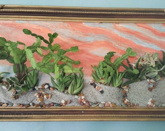 Living Art Desert Scene with Cacti and Succulents