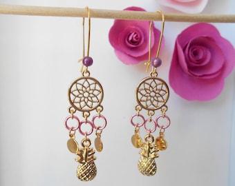 Pineapple rings pink gold earrings