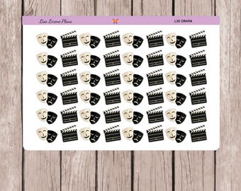 Theater Drama Planner Stickers | Play Practice Rehearsal | All Planners | Thespian Mask Clapboard  L30