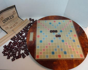 Home Made Scrabble Board Mounted on Lazy Susan with Needle Point Bag for tile storage