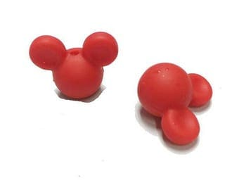 Perle Mickey minnie  silicone tete rouge dentition Bebe alimentaire