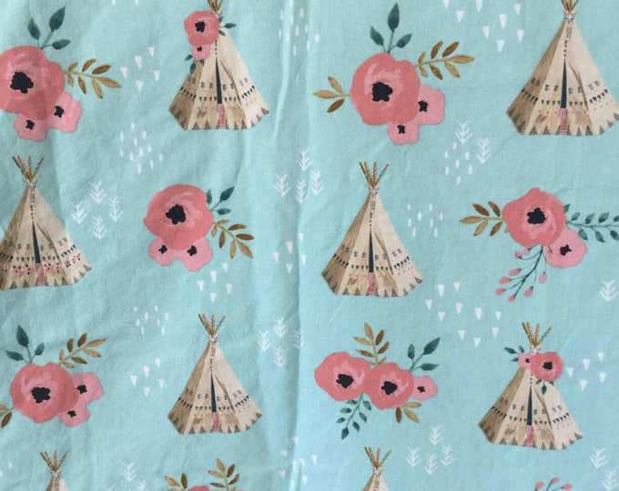 Teepee and floral large chenille blanket