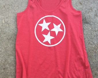 Tennessee tri star women's racerback tank top, tri blend, red,**free shipping**