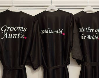 Black satin Dressing Gown. Bride Robe ideal for weddings. Bridesmaid Dressing Gown. Personalised with your text across the back.