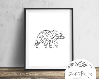 Geometric Bear- Wall Art Print