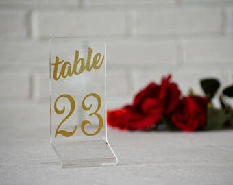 Clear Acrylic. Gold numbers. Table Numbers. Numbers wedding. Wedding Table numbers.  Wedding signs. Wedding table numbers. Numbers Gold.