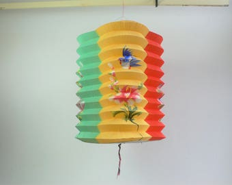 Vintage paper lantern Chinese Blue birds Flowers hand painted Petal // Hong Kong 1950s 1960s