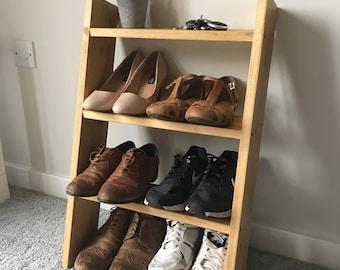 3 shelf solid wood shoe rack oak colour storage ladder shelf shelves 70cm tall
