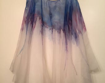 Forget Me Not (Hand Painted Silk Organza Ballet Skirt) Knee Length