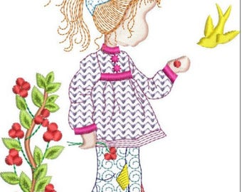 HOLLY HOBBIE with berries machine embroidery download 3 diff sizes ( 4x4 5x5 6x6)