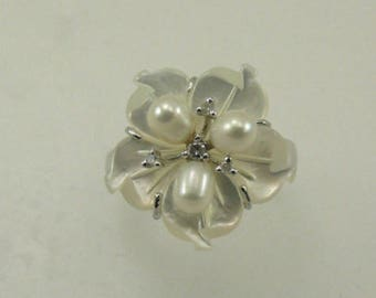 Mother of Pearl,Freshwater Pearl & Diamond Ring Sterling Silver Setting