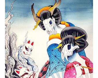 Skull mask geisha watercolor print, 12x18 Japanese kimono fox spirit