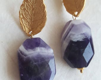 Amethyst earrings, gemstone earrings, drop earrings