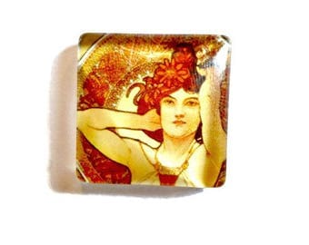 "Cabochon square 25 x 25 mm glass ""Art Déco"""
