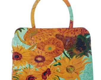 Bag faux leather Van Gogh vase with sunflowers