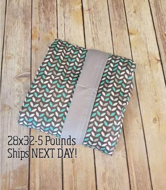 Teal Leaves, 5 Pound, WEIGHTED BLANKET, Ready To Ship, 5 pounds, 28x32, for Autism, Sensory, ADHD, Calming, Anxiety,