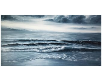 Large Monochrome Painting, Ocean Waves Coastal Landscape Painting, Original Seascape Oil Painting on Canvas, Time Does not Exist