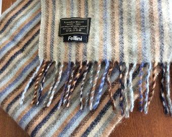 "Fellini  lambs wool Scarf blue beige striped wool , fringed soft 11 1/2"" x 63"""