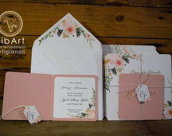 Flower wedding shabby shic involvement with cover envelope-wedding invitation gold/rose