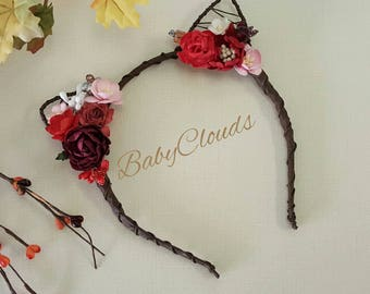 ADULT, CHILD, BABY -Floral Head Wreath, Cat Woman Hairband, Floral Crown Wedding, Flower Crown, cat ears, Children's size, baby headband kit